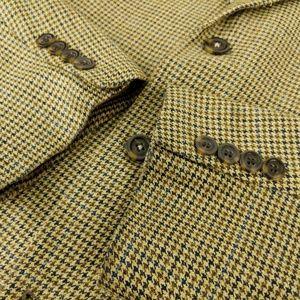 ANDREW FEZZA 44R Beige Houndstooth Silk Sport Coat